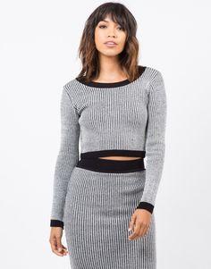Marled Knit Crop Top