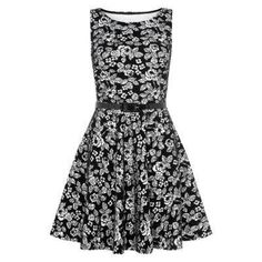 $27, Black and White Floral Skater Dress: Parisian New Look Black Floral Flocked Belted Skater Dress. Sold by New Look. Click for more info: http://lookastic.com/women/shop_items/76757/redirect