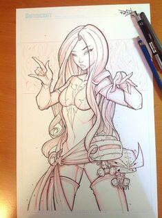 "Commish 116 WIP 02 by RobDuenas - Dark Phoenix ""Suave"" Commish Art Drawings Sketches Simple, Cartoon Drawings, Cartoon Art, Character Art, Character Design, Simple Character, Graffiti Drawing, Copics, Erotic Art"