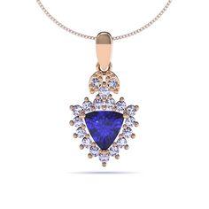 1.00 TCW Trillion Tanzanite #Pendant with Diamonds - Price: $1318.