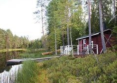 kuva Sauna Design, Finnish Sauna, Lakeside Cottage, Little Cabin, Lake Cabins, Finland, House Styles, Mountain, Cabins