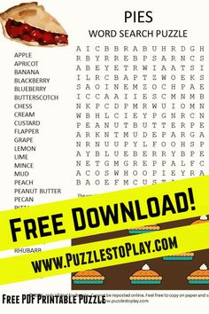 The pies word search is a perfect slice of goodness. The word list shares the different types of pies and it's going to make you hungry! The free download is a free pintable puzzle to play!