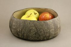 Handmade ceramic bowl stoneware creamy dotted clay by studiowetwo
