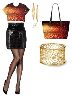 Sunset glitter by evlogia on Polyvore featuring polyvore, fashion, style, Yves Saint Laurent, Hanes and clothing