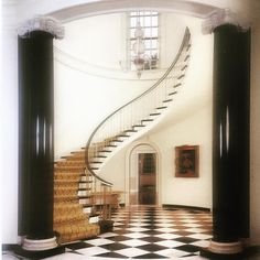 Mrs. Kersey Coates Reed's house in Lake Forest Illinois 1931 , the grad staircase , the house designed by David Adler (architect ) and Frances Elkins ( interiors)