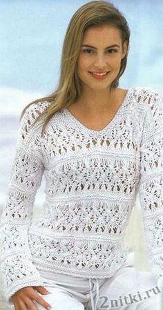 Красивый женский пуловер — Две нитки