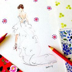 A WEDDING STORY.....Marisa  #wedding #bridalportrait #fashionillustration