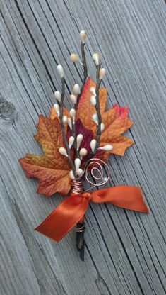Fall Wedding Boutonniere, maple & twigs.