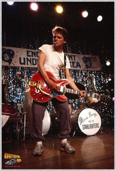 """Michael J Fox as Marty McFly rocking out to """"Johnny B. Goode"""", Back To The Future Michael J Fox, Marty Mcfly, 80s Movies, Great Movies, Movie Tv, Movie Scene, Indie Movies, Comedy Movies, Action Movies"""