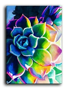 Colorful flower painted canvas