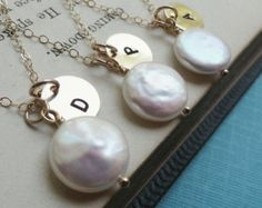 Bridesmaid gift set, Six Personalized Pearl Necklaces, White Coin Pearl Solitaire & Custom Gold Initial Disc charm, Bridal party gift