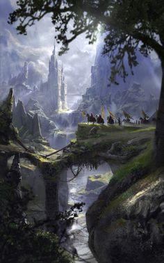 A Long Journey by Alejandro Olmedo (Fantasy Art Watch) Fantasy Kunst, Fantasy City, Fantasy Castle, Fantasy Places, High Fantasy, Medieval Fantasy, Fantasy World, Fantasy Artwork, Fantasy Concept Art