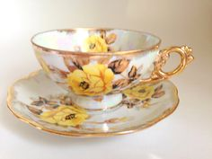 Yellow Rose Royal Sealy Tea Cup and Saucer by AprilsLuxuries