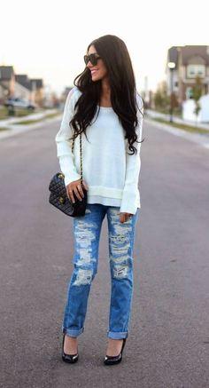 Blue Schredded Denim Boyfriend Jeans and cream sweater