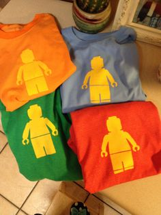 Lego man tshirt.  Made using a freezer paper stencil.