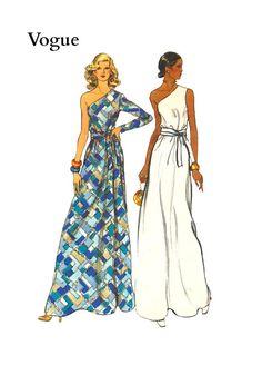 Vintage 1970s Vogue 8839 Misses One Shoulder by pinkpolkadotbutton, $18.00