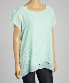Another great find on #zulily! Sage Sheer Floral Angel-Sleeve Top - Plus #zulilyfinds