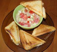 W Mojej Kuchni Lubię..: ciepłe kanapki z serem i z pomidorami w śmietanie....