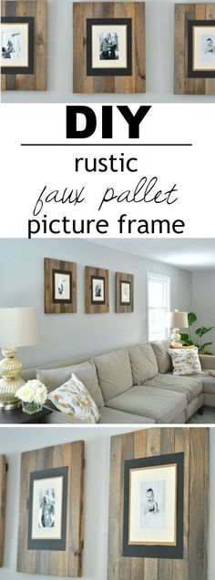 These picture frames look like they are made from reclaimed wood pallets but are really made from cheap white wood that's stained to look old and weathered! There's a great video tutorial that shows you how simple (and inexpensive) they are to make! by esmeralda