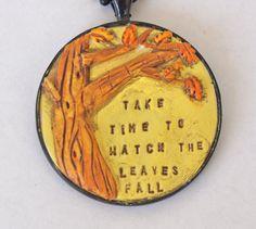Original Fall Tree Folk Art Necklace in by cortneyrectorFOLKART, $30.00