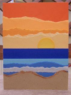 BEACH SUNSET Torn Paper Art Blank Card