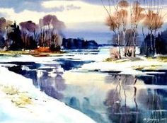Watercolor Scenery, Watercolor Ocean, Watercolor Landscape, Watercolour Painting, Landscape Paintings, Water Paint Art, Smoke Art, Winter Painting, Watercolor Techniques
