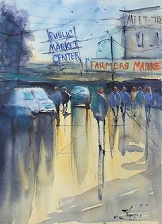 Public Market Seattle by Carolyn Zbavitel Watercolor ~ 14 x 10