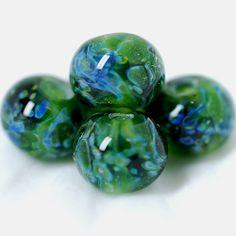 Lampwork borosilicate  glass beads set. Boro beads.   Deep forest.T etsy.com/shop/Juliyamrboro