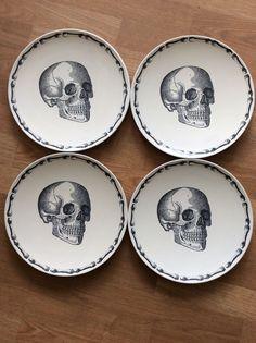Set Of Four 11 Inch Halloween Skull And Bones Melamine Dinner Plates