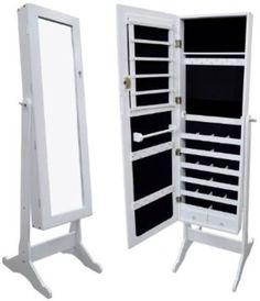 White Mirrored Jewelry Cabinet Armoire Organizer Storage Box Stand Cheval