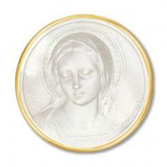Médaille en Nacre représentant le visage de la Vierge Marie. Modèle : Amabilis. Gravure possible au dos de la médaille.
