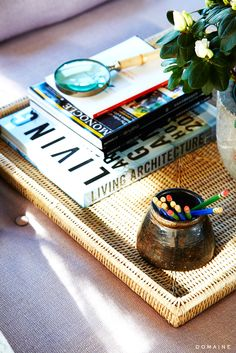 Coffee table styled with books and magnifying glass
