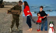 A Christmas card for a military family that couldn't be together for the holidays. So sweet! Military Deployment, Military Couples, Military Wife, Military Photos, Military Families, Army Family, Family Christmas Cards, Christmas Photos, Holiday Pictures