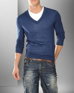 v neck over crew neck. I guess it just takes the right colors to make it work. Well done.