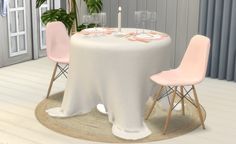Modern Romantics SetIncludes: • Dining Plates (3 sizes, each with 1 x slot) • Wine Glasses (3 sizes) • Cutlery Set + Separate butter knife • Candle • Dining Table • Tablecloth (with 1 x deco slot) • Dining Chair (TS2-TS4 conversion Pocci Eames...