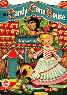 Vintage Christmas coloring book shows girl made of candy canes wearing a simple skirt and using a cookie cut out as a hat. I have an invite to a themed party, Candy Land out of town in October. This would be easy to do and easy to pack!
