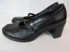 BASS Venus 5.5 Black Matte Leather Round Toe Mary Jane Chunky Heels Dress Shoes #Bass #MaryJanes