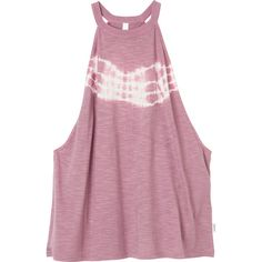 RVCA Women's  Mayday Tank Top (€36) ❤ liked on Polyvore featuring tops, shirts, tank tops, pink, purple tank top, tie-dye tank tops, high neck tank, ribbed tank tops and pink shirts