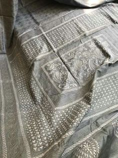 Beautiful Pure Tussar Silk saree in steel grey colour with hand kantha embroidery!! . order what's app 7995736811