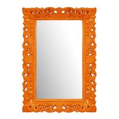 Open scrollwork wall mirror in orange.  Product: Wall mirrorConstruction Material: Resin and mirrored glassColor: OrangeFeatures: Glossy lacquer finishDimensions: 46 H x 32 W Cleaning and Care: Wipe with soft cloth