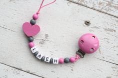 Wooden Pacifier Clip Pink/ Dark Gray Soother by Leahslittleflowers, $12.00