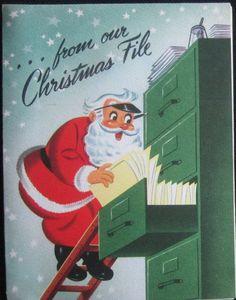 Unused Vintage Christmas Greeting Card Sample Adv Santa in the File