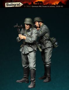 German MG team 1941-43. 1/35 scale resin figures. Click on the picture for details on them and their mates from Stalingrad Miniatures.
