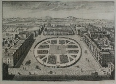 Grosvenor Square. Bird's eye view, 1754