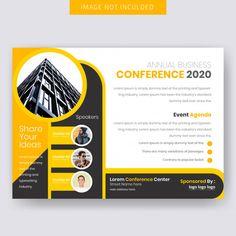 Conference Horizontal Flyer Template Graphic Design Brochure, Corporate Brochure Design, Corporate Flyer, Graphic Design Posters, Banner Design Inspiration, Brochure Design Inspiration, Web Design, Flyer Design, Pamphlet Design