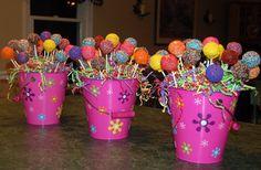 Cake pop centerpieces for childrens' birthday parties.