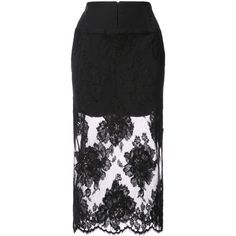 Fleur Du Mal lace pencil skirt (56825 RSD) ❤ liked on Polyvore featuring skirts, black, lace pencil skirts, fleur du mal, knee length pencil skirts, lacy skirt and pencil skirts