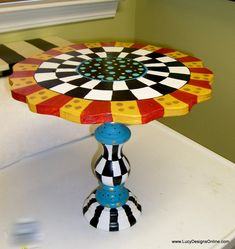 Hand Painted Whimsical Wooden Cake Plates Made from Candlesticks, Wooden Lamps and Wood Pieces