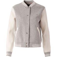 Tommy Hilfiger Scuba Varsity Jacket ($135) ❤ liked on Polyvore featuring outerwear, jackets, light grey, women, letterman jackets, rider jacket, striped jacket, motorcycle jacket and varsity jacket