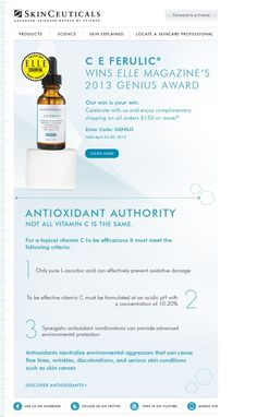 SkinCeuticals CE Ferulic wins a Genius Award from ELLE. And we couldn't agree more - it's brilliant!